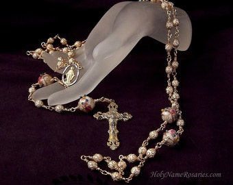 Wedding Rosary Beads White Handmade Wedding Cake Beads Lampwork Miraculous Medal Wire Wrapped Unbreakable Traditional  by The Rosary Works