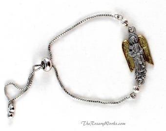St Gabriel Bracelet Archangel Devotional Catholic Medal Sacramental Patron Saint Silver Gold One Size Fits All Smart Bracelet