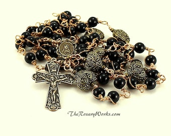 Sacred Heart Rosary Beads Scapular Black Rosary Onyx Solid Bronze Wire Wrapped Unbreakable Traditional Catholic Gift Rosary Five Decade