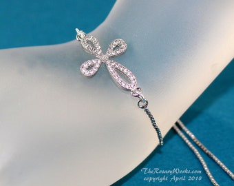 CZ Cross Sideways Bracelet Christian Bracelet Devotional Bracelet Jewelry Silver Color One Size Fits All Smart Bead Bracelet Cubic Zirconia