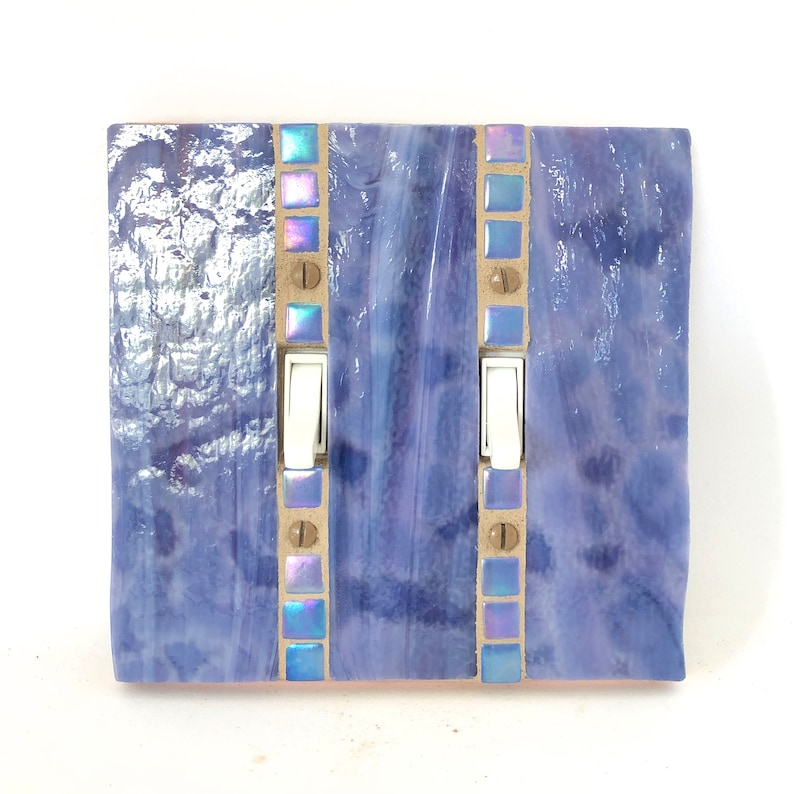 Purple Light Switch Cover Stained Glass Switch Plate Double image 0