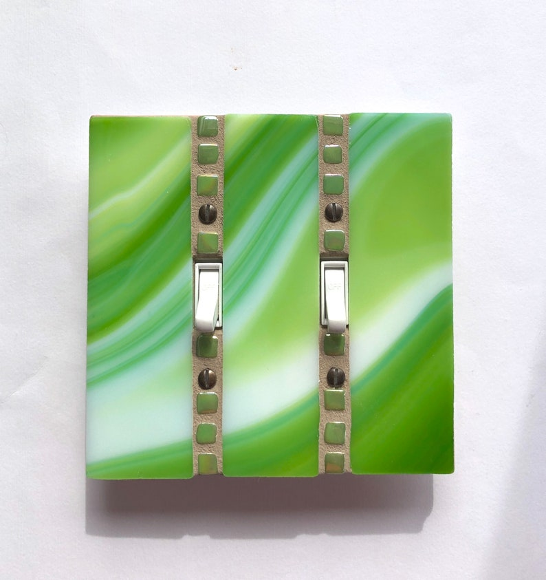 Double Toggle Light Switch Cover Lime Green Switch Plate image 0