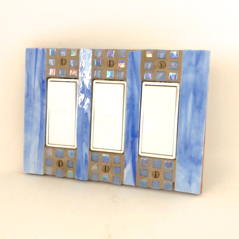 Blue Switch Cover Triple Decora Light Switch Plate Dimmer image 0