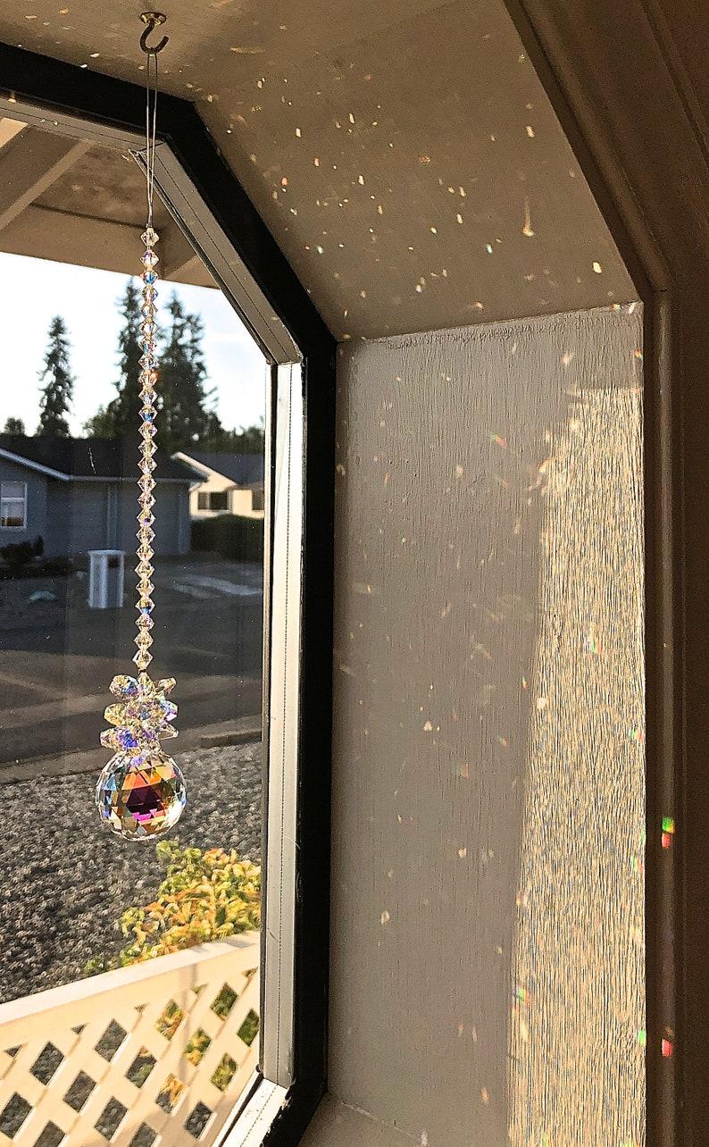 Crystal Ball Sun Catcher April Birthday Swarovski Crystals image 0