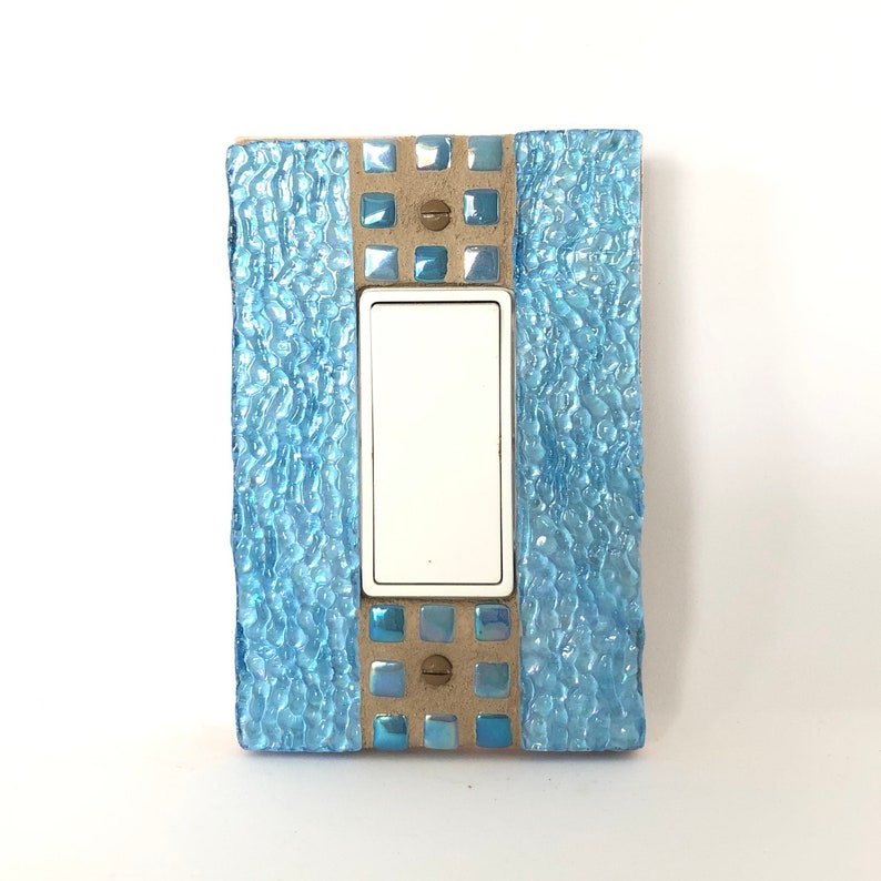 Blue Light Switch Cover Stained Glass Iridescent Blue Light image 0
