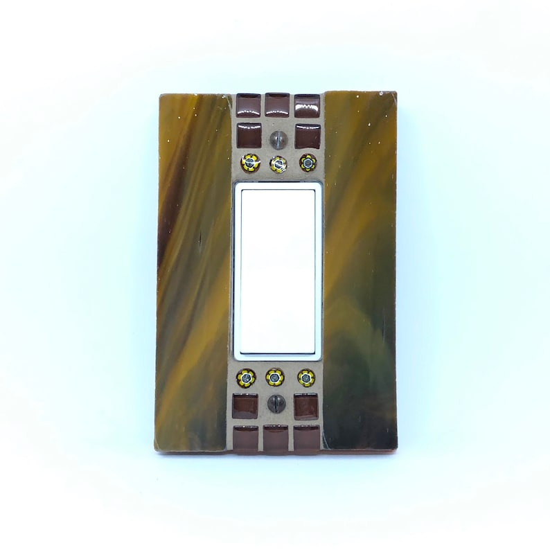 Brown and Gold Switch Plate Stained Glass Millefiori Glass image 0