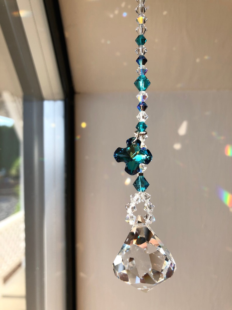 Crystal Sun Catcher Swarovski Crystals Turquoise Blue image 0