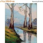 ON SALE eucalyptus trees Original Oil Painting Trees landscape River Painting Traditional Art decor by G.Gercken