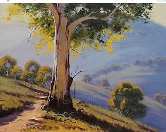 Australian Landscape Watercolour Painting Gumtrees Bush Scene Antiques Decorative Arts