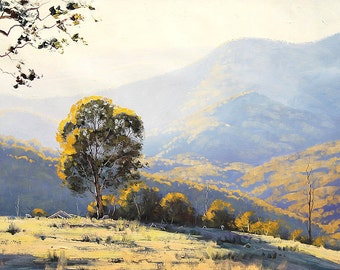 LARGE LANDSCAPE PAINTING Listed Artist Original Oil Painting Gum Trees by  Graham Gercken