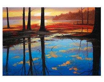LAKE SUNSET PAINTING sunrise painting Landscape Art Water decor by Graham Gercken