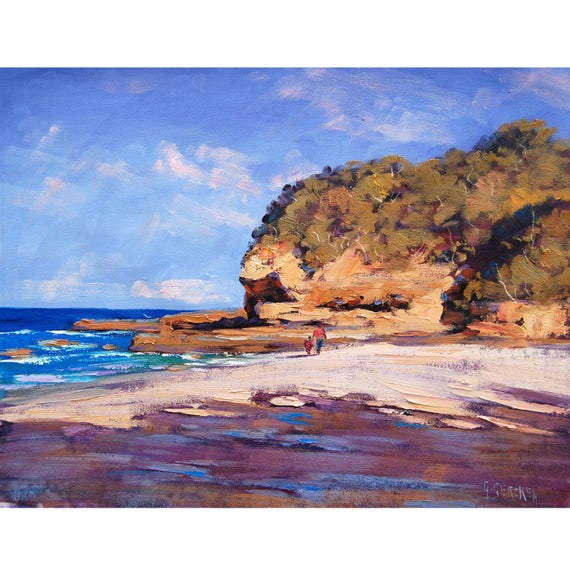 Beach oil Painting Sand Dunes Seascape Fine Art by Listed Artist Graham Gercken