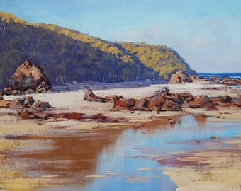 BEACH PAINTING Oil painting coastal painting sea painting large painting fine art by g.gercken