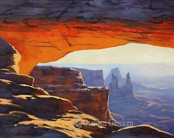 SUNRISE CANYONLANDS Large Oil PAINTING Landscape painting desert painting Desert art mesa arch  utah