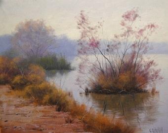 River Painting Hazy Stream Landscape Original oil fine art by G.Gercken