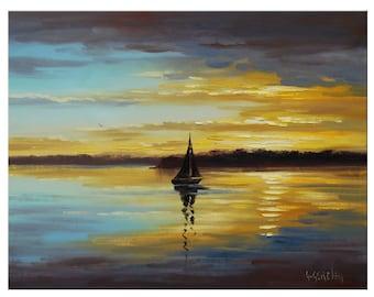 Golden SUNSET OIL PAINTING Palette Knife Seascape  Fine Art Gercken