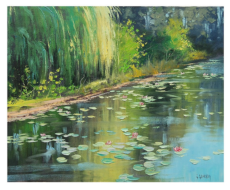 LILY POND PAINTING impressionist Paintings Original Oil image 0