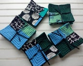 Black + White + Teal All Over Patchwork Quilted Coasters