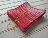 Hand-Dyed Watermelon - Quilted Coasters