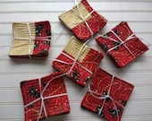 Gold-Stitched Holiday Patchwork Quilted Coasters