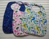 Bundle: 3 Toddler Bibs (Swirls, Flamingos, and Toucans)