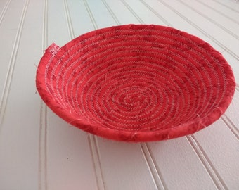 """6"""" Coiled Fabric Bowl - Red Floral"""