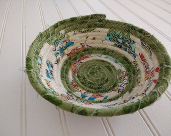 """6"""" Coiled Fabric Bowl - Green and Cream Stripes"""