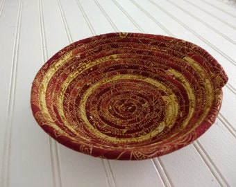 """6"""" Coiled Fabric Bowl - Golden Mendhi"""