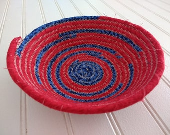 """6"""" Coiled Fabric Bowl - Red and Blue"""