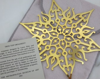 """MMA Gold Snowflake Christmas Ornament - Tree Top Ornament 1981 Gold over Brass 6.5"""""""