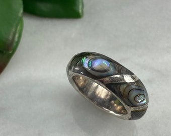 Sterling Silver and Abalone Shell Ring - Stacking Band Rings for Women 5 1/2