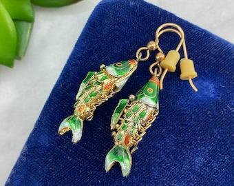 Sterling Silver Asymmetrical Earrings Multicolour Fish Earrings