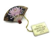 Vintage Toshikane Porcelain Fan Brooch - Vintage, Japan, Chrysanthemum, Original Tags, Box