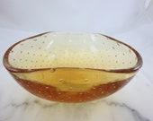 Large Murano Glass Bowl - Orange Controlled Bubble Bullicante Venetian Art Glass 1950s 1960s