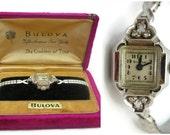Ladies Bulova Watch - 14k White Gold and Diamond Watch, Original Case, 1940s