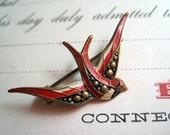 Unusual Red Enamel Bird Brooch