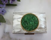 Faux Mother of Pearl Powder Compact - Green Glass Chips Faux Jade