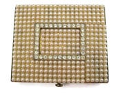 Art Deco Compact - Vintage Dorset Fifth Avenue Faux Pearls Clear Rhinestones Powder Compact