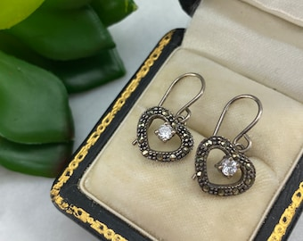 Sterling Silver Heart Earrings - Marcasite with Clear CZ, Valentine Gift for Women