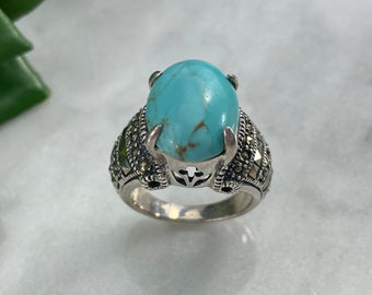 Sterling Silver Turquoise Ring - Marcasite Accent, Vintage Rings for Women 6 3/4