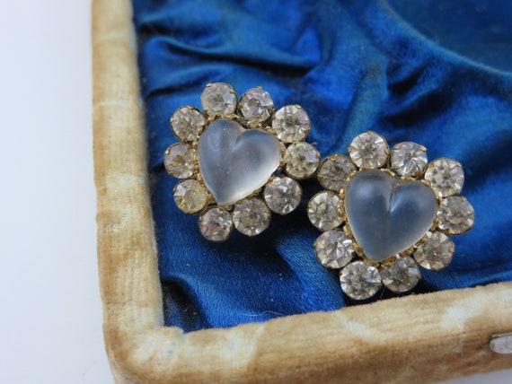 Antique 1800/'s Victorian Pink Double Heart Paste Glass Rhinestone Brooch BoutiqueByDanielle