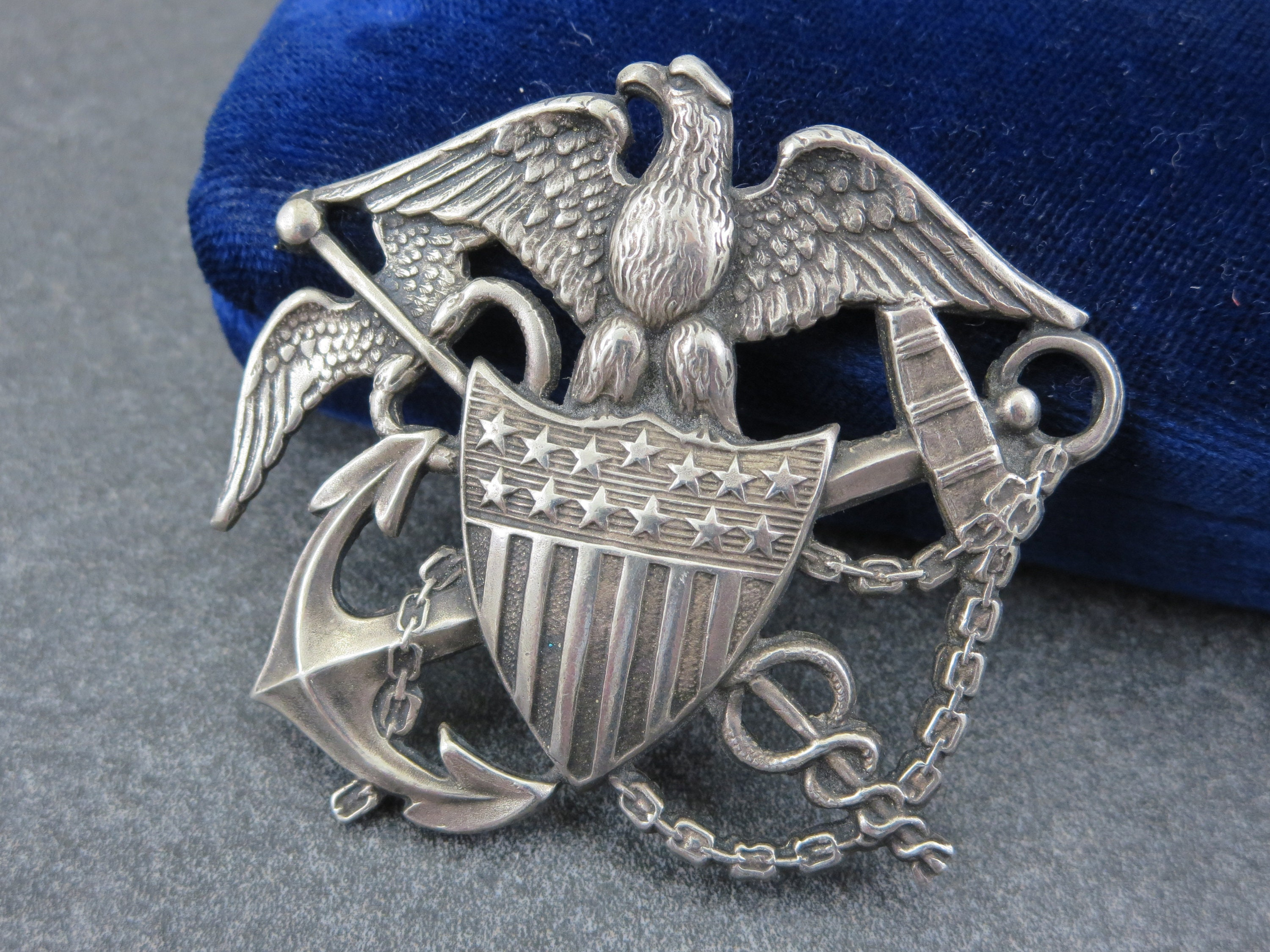 Silver Eagle Military Brooch WWII Nurse Cadet Corps Sterling Silver Hat Badge Blackinton US Public Health Service