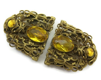 Vintage Rhinestone Dress Clips - Topaz Rhinestone Costume Jewelry, Filigree, Vauxhall Glass