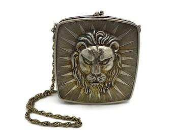 Metal Lion Purse - Italy Metal Purse 1970s Designer Harry Rosenfeld Couture Handbag