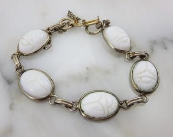 Vintage Scarab Bracelet - Egyptian Revival Glass Cabochon White Milk Glass Coro Jewelry Bracelets for Women