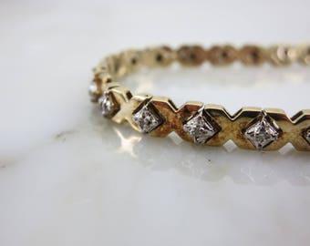 Diamond Tennis Bracelet - Gold over Sterling Silver XOXO Bracelet
