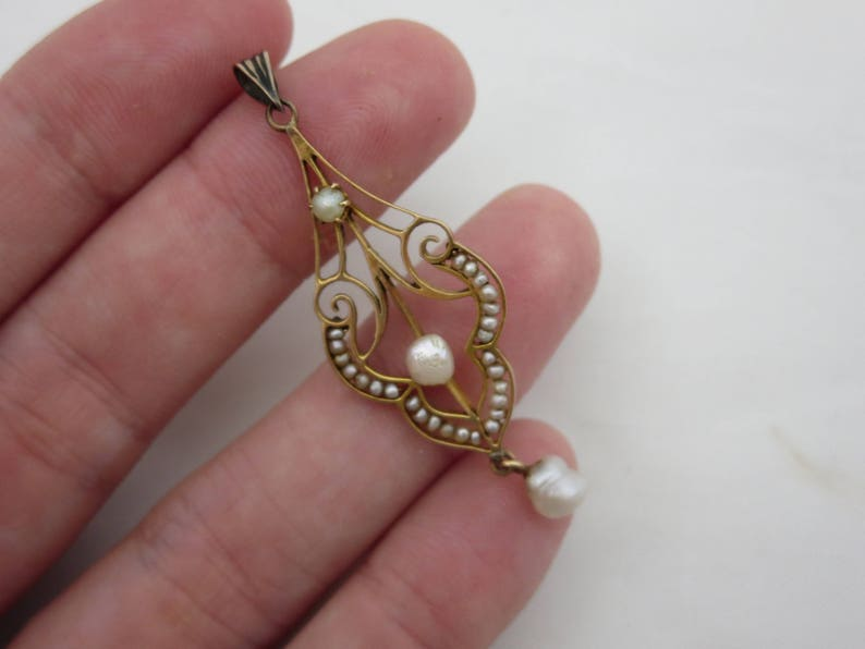Baroque Seed Pearl 10k Gold Jewelry Edwardian Estate Fine Jewelry Antique Lavalier Pendant