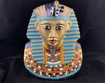 Large Brass Egyptian King Tut Mask Sculpture - Hand Painted