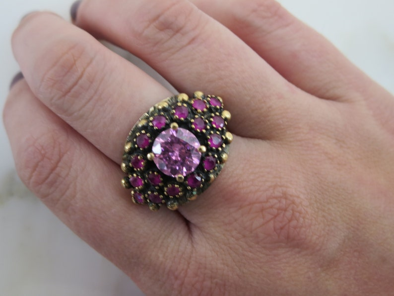 Pink Sapphire Statement Ring Gold over Sterling Silver Cluster Rings for Women Size 8 Genuine Sapphires with Pink CZ