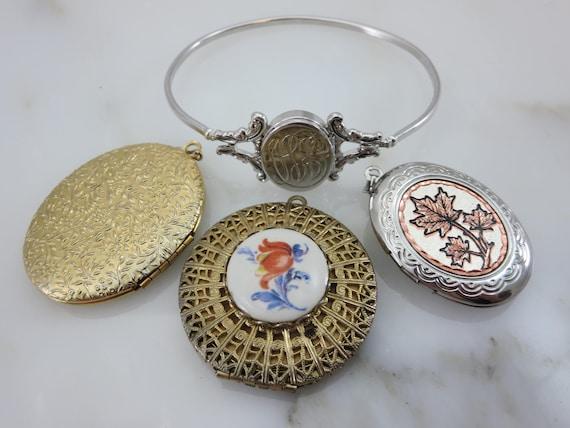 Lockets - Pendants and Bracelet Lot, Gold Silver … - image 1